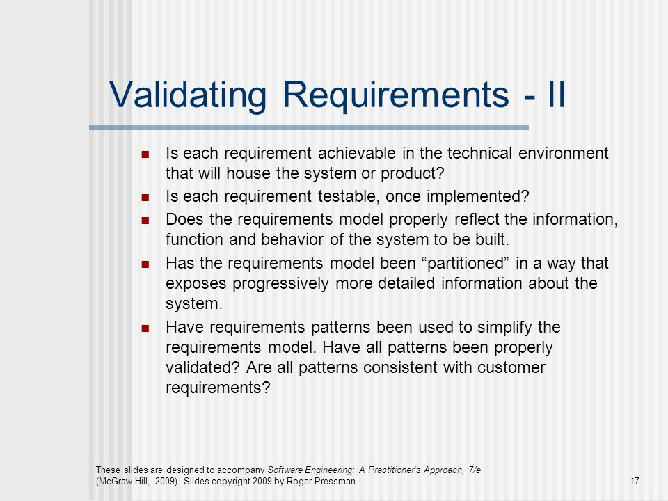 Validating Requirements - II