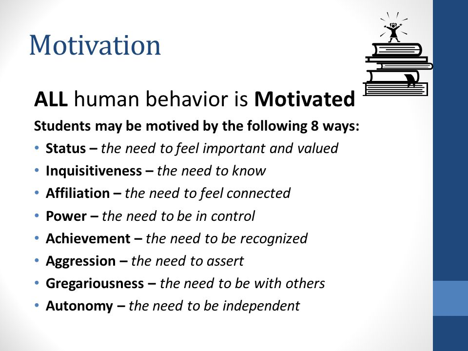 Motivation ALL human behavior is Motivated