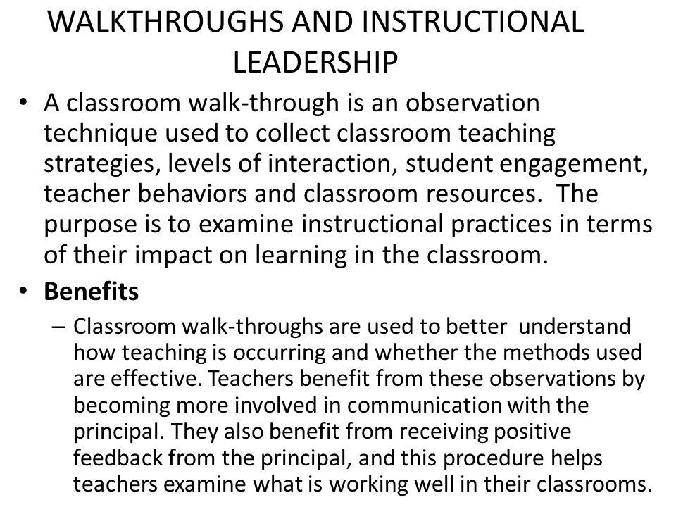 Instructional Leadership Classroom Walkthroughs Ppt Video Online