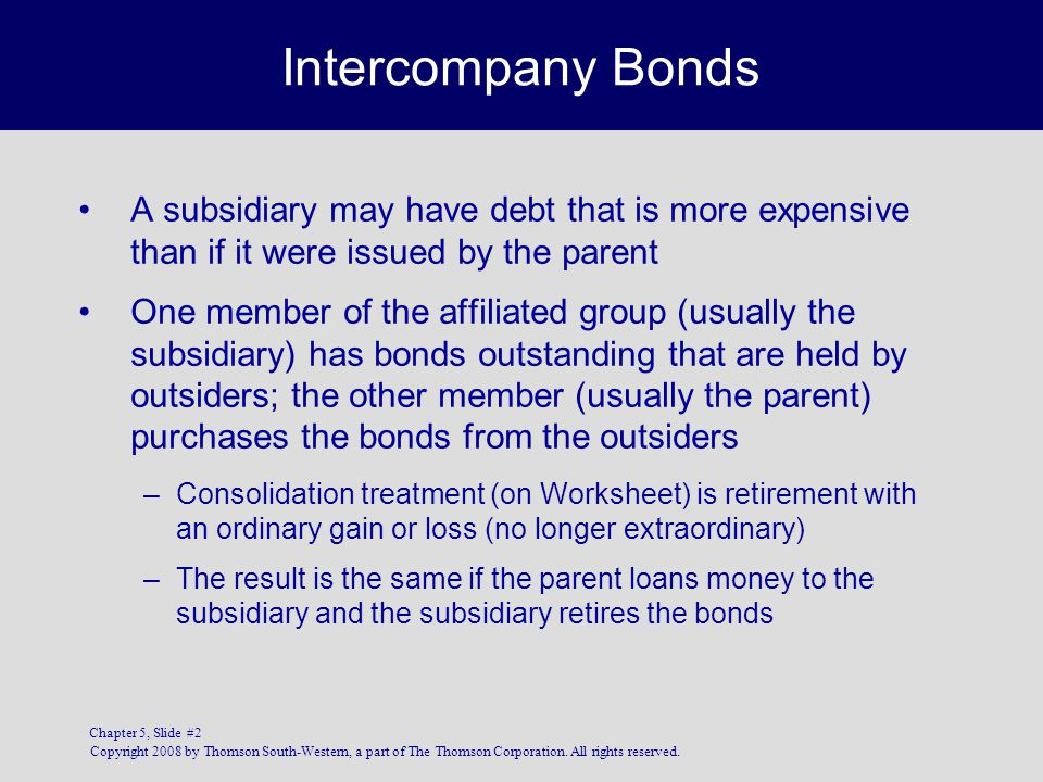 CHAPTER 5 5 Intercompany Bonds, Cash Flow, EPS, and Unconsolidated ...