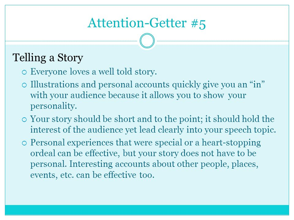Attention getter online dating stories