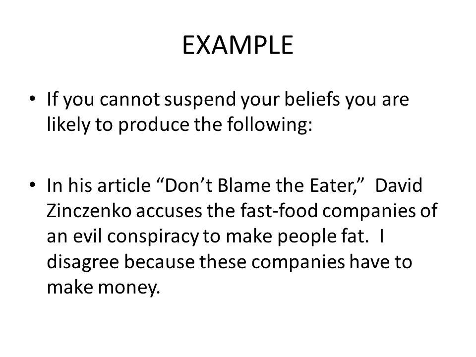 zinczenko don t blame the eater