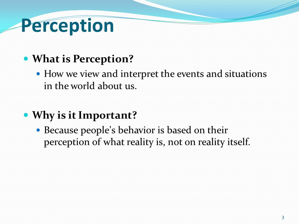 why is perception important