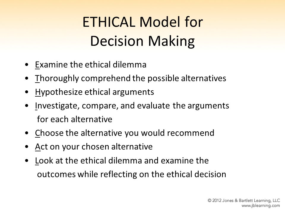 ETHICAL Model For Decision Making