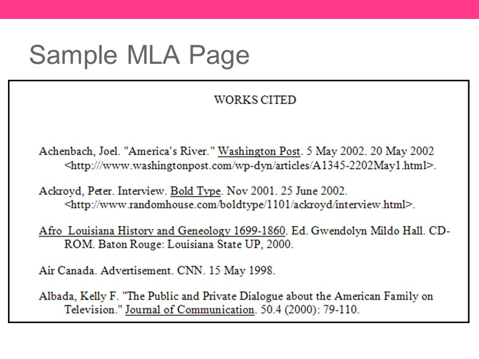 Mla Format Resources Sample Page And Citation Examples Ppt Download