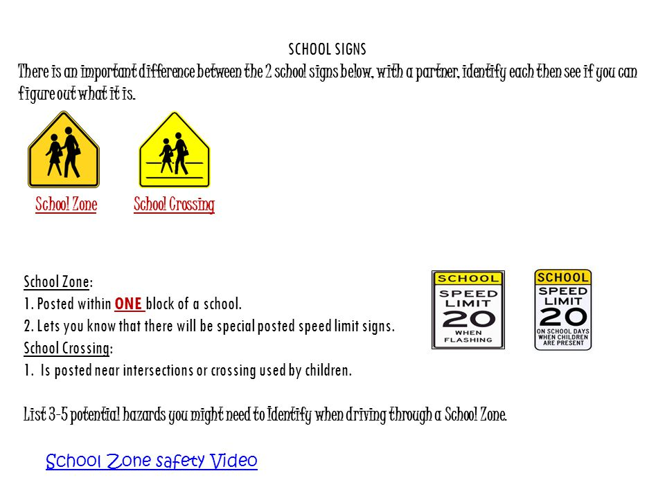 School Zone School Crossing