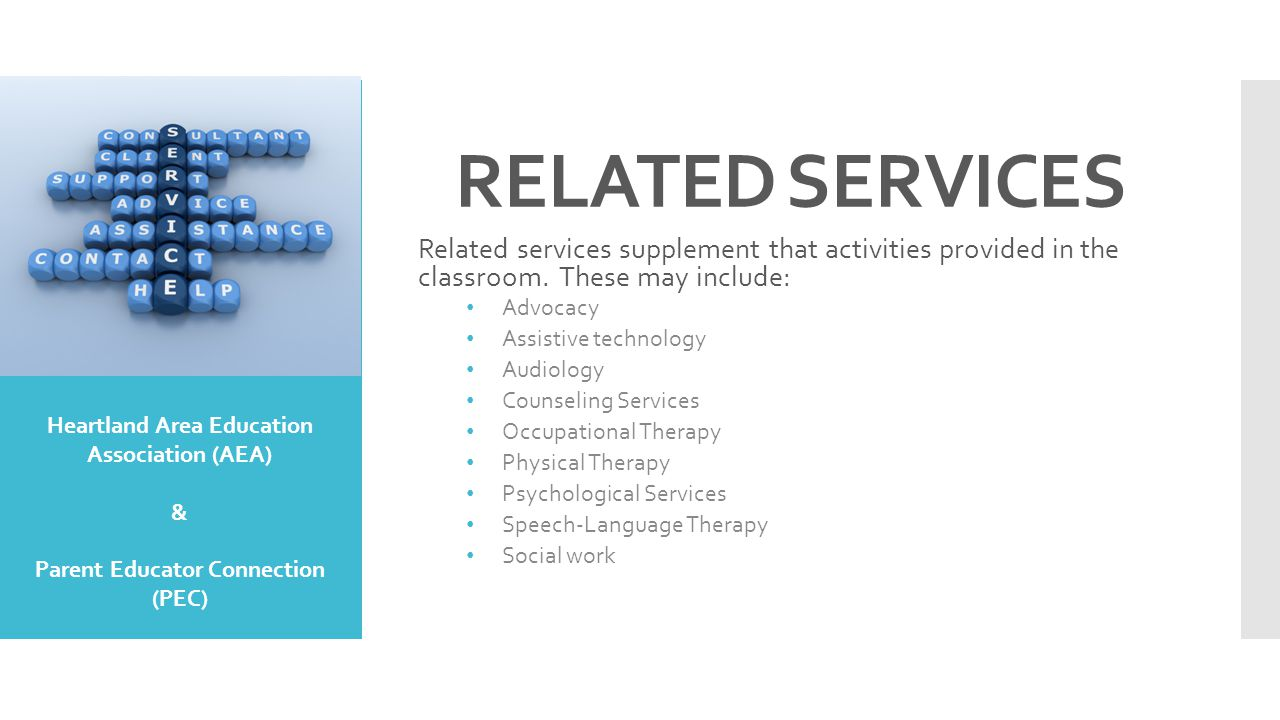 RELATED SERVICES Related services supplement that activities provided in the classroom. These may include: