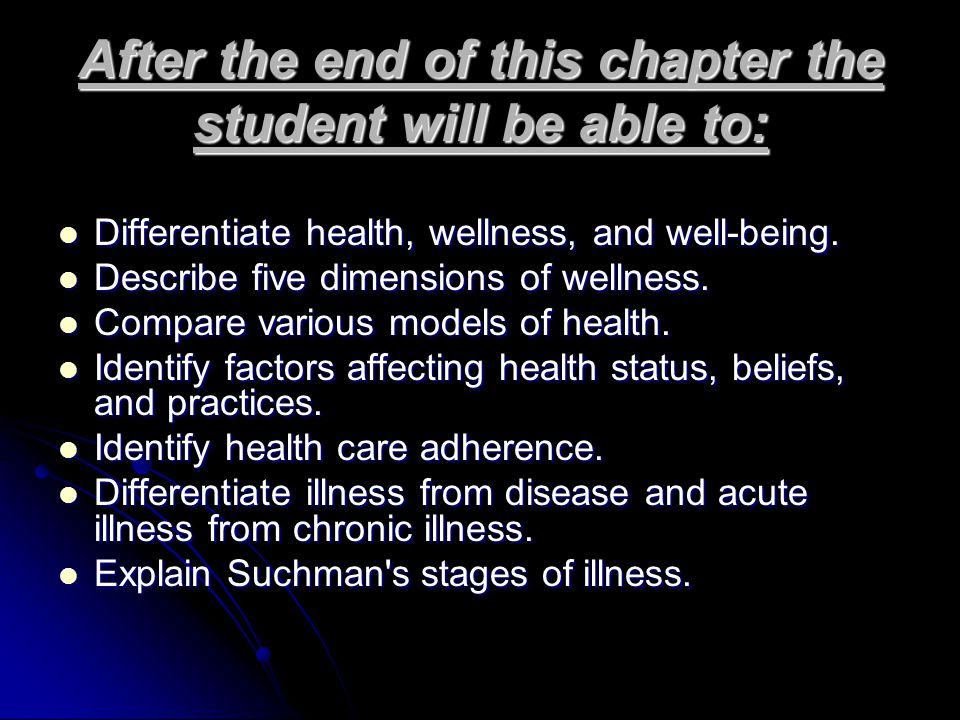 After the end of this chapter the student will be able to: