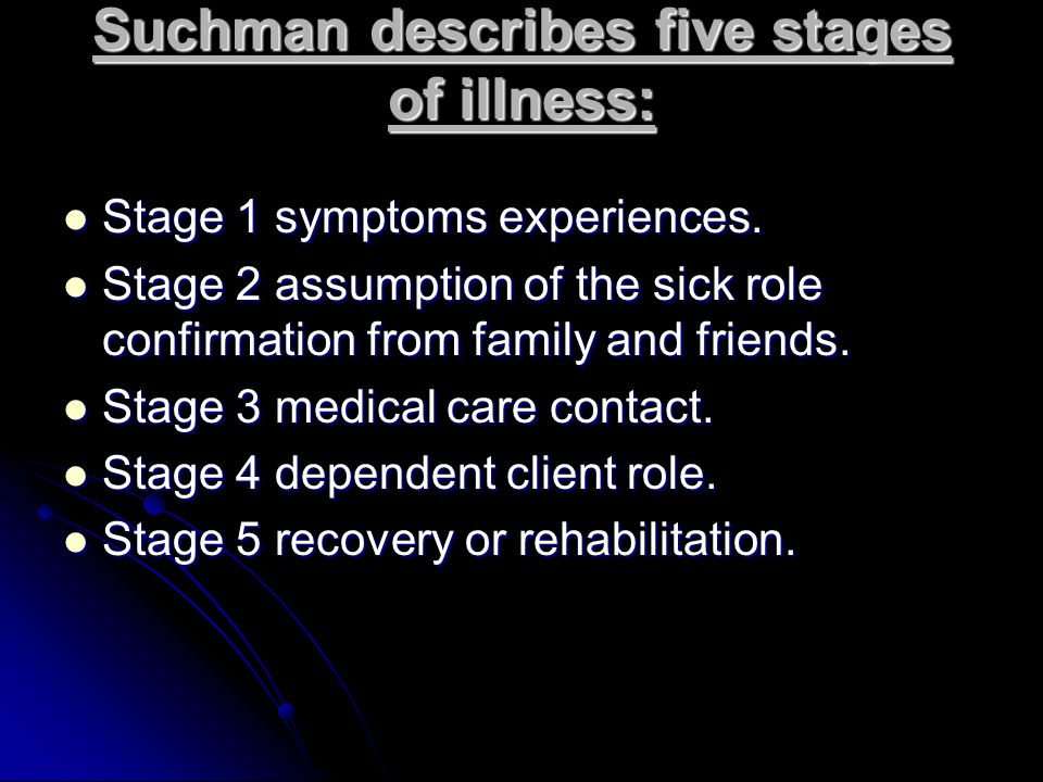 Suchman describes five stages of illness: