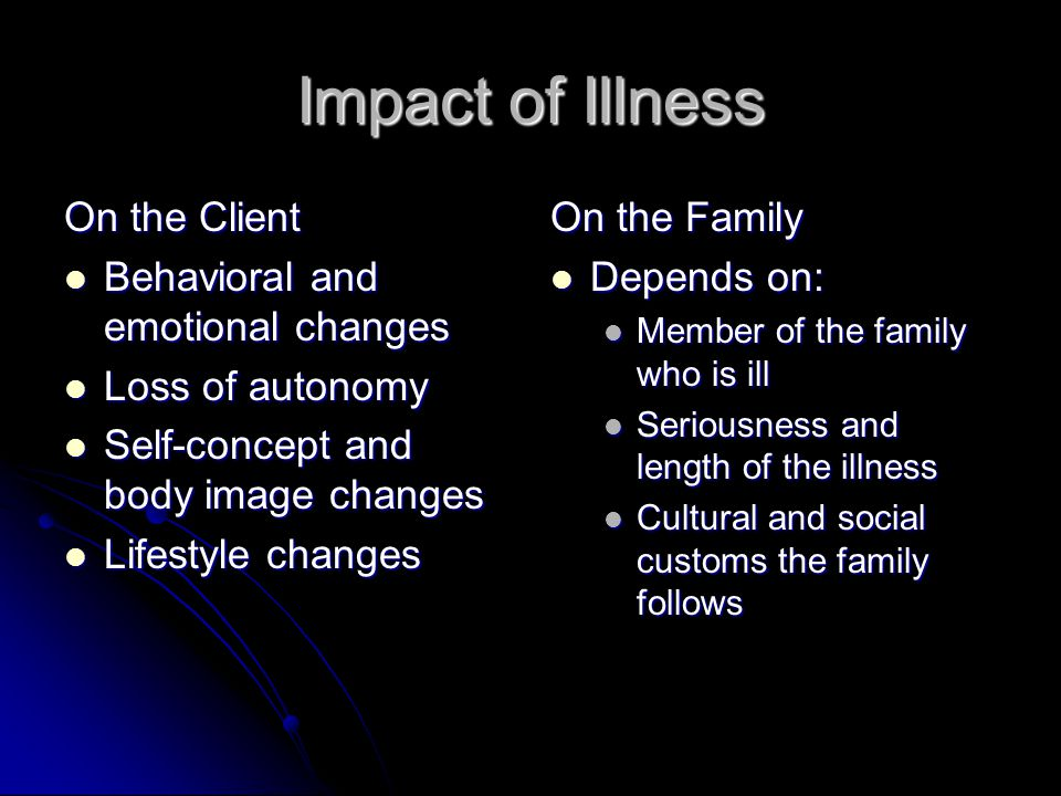 Impact of Illness On the Client Behavioral and emotional changes
