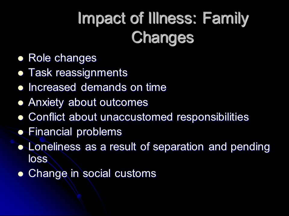 Impact of Illness: Family Changes