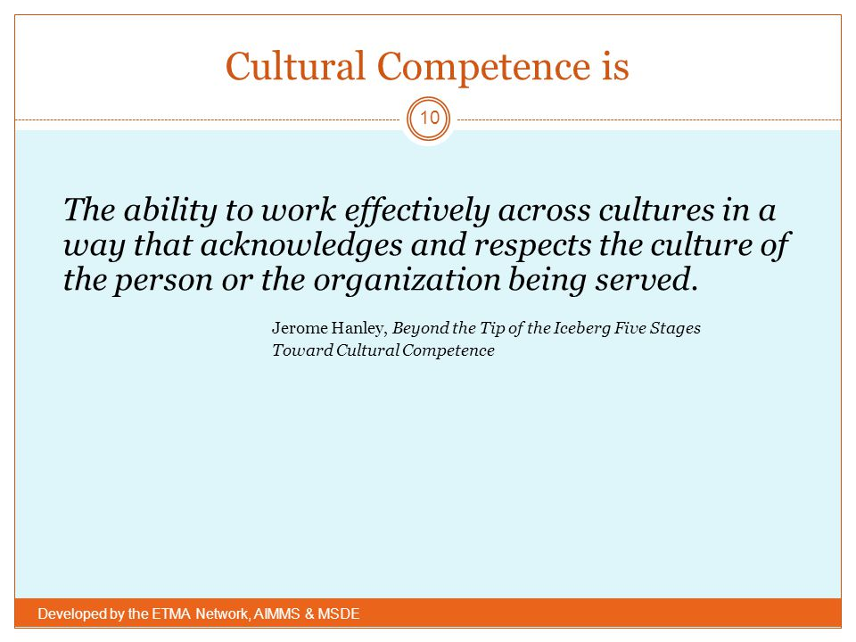 Cultural Competence is