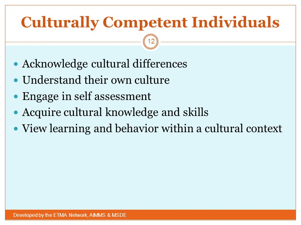 Culturally Competent Individuals