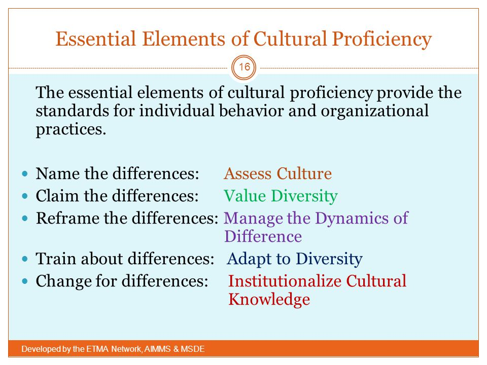 Essential Elements of Cultural Proficiency