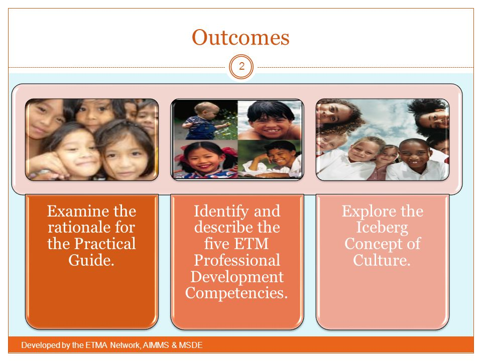 Outcomes Developed by the ETMA Network, AIMMS & MSDE