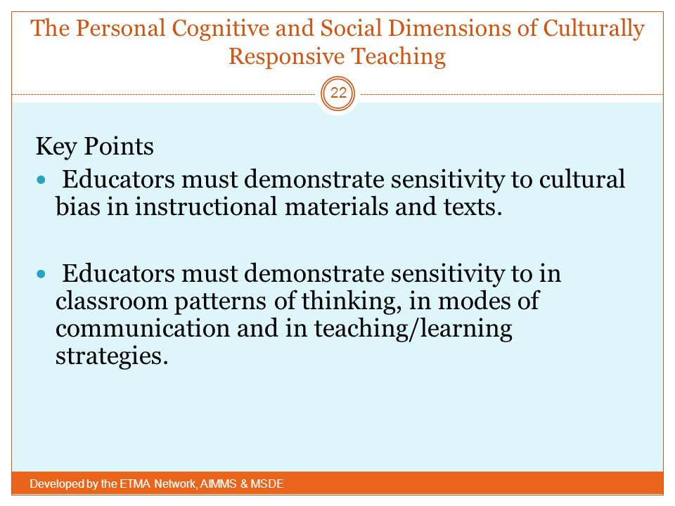 The Personal Cognitive and Social Dimensions of Culturally Responsive Teaching