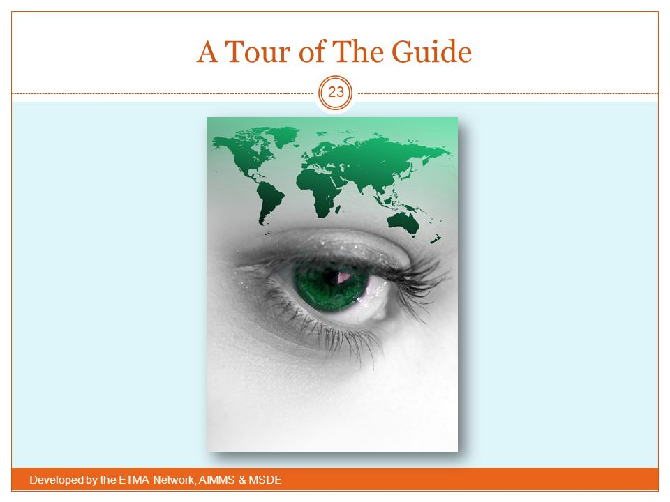 A Tour of The Guide Developed by the ETMA Network, AIMMS & MSDE