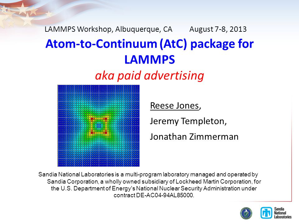Atom-to-Continuum (AtC) package for LAMMPS aka paid advertising