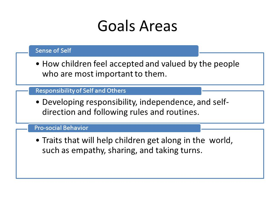Goals Areas Sense of Self. How children feel accepted and valued by the people who are most important to them.