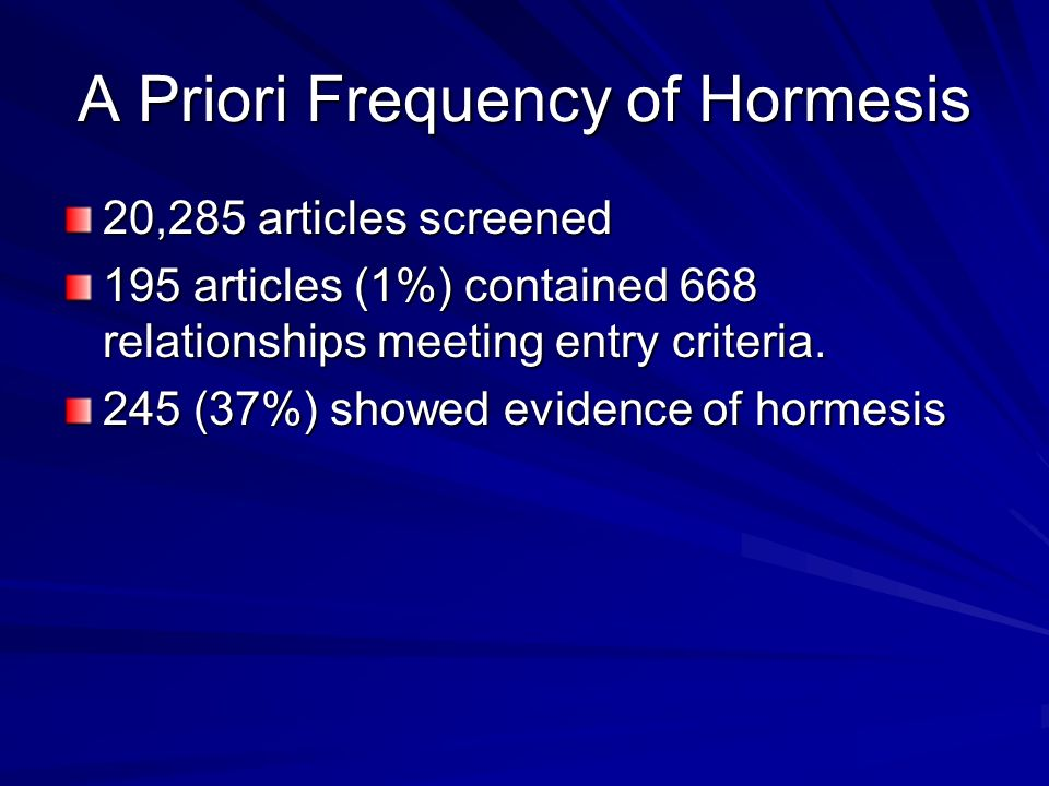 A Priori Frequency of Hormesis