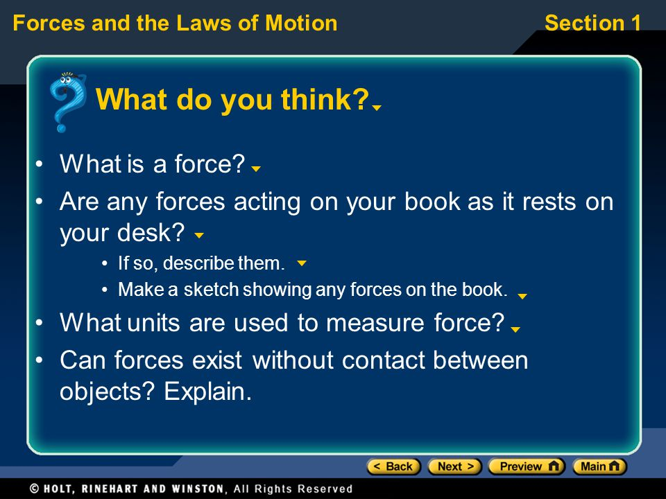 Preview Section 1 Changes In Motion Section 2 Newton S First
