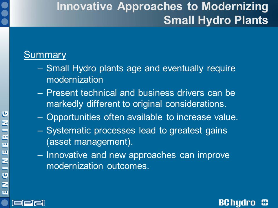Innovative Approaches to Modernizing Small Hydro Plants