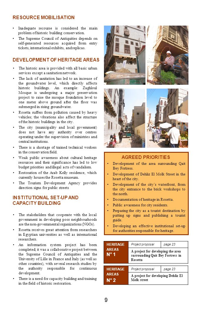 9 RESOURCE MOBILISATION DEVELOPMENT OF HERITAGE AREAS N° 2
