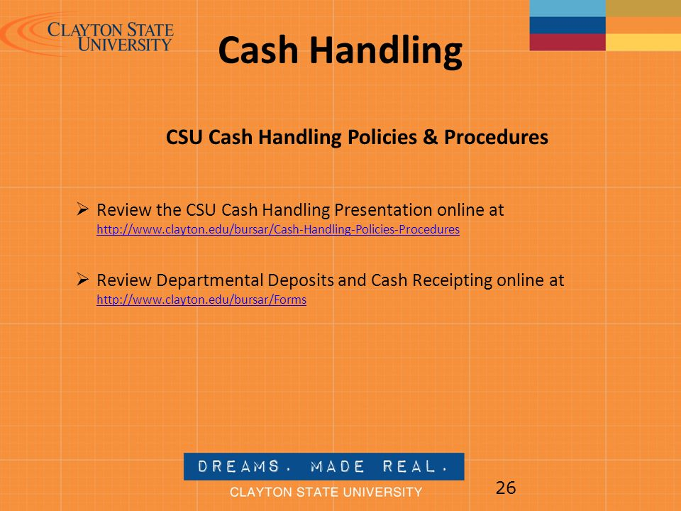 CSU Cash Handling Policies & Procedures