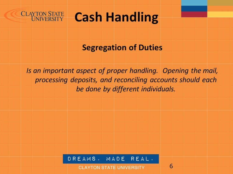 Cash Handling Segregation of Duties