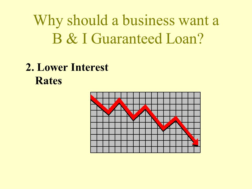 Why should a business want a B & I Guaranteed Loan