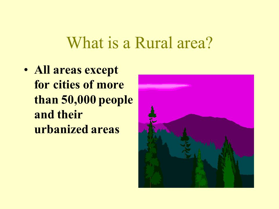 What is a Rural area.