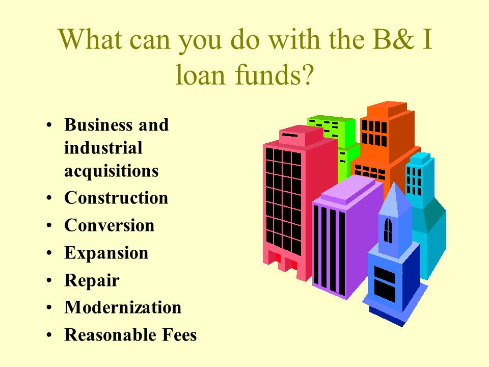 What can you do with the B& I loan funds