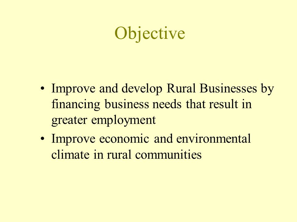 Objective Improve and develop Rural Businesses by financing business needs that result in greater employment.