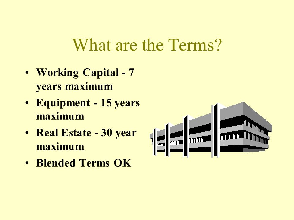 What are the Terms Working Capital - 7 years maximum