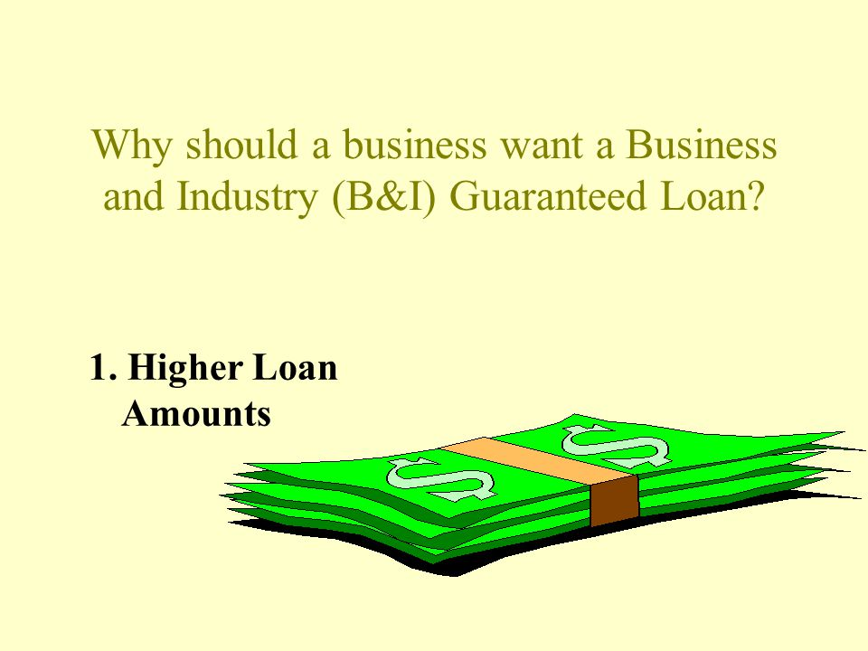 Why should a business want a Business and Industry (B&I) Guaranteed Loan