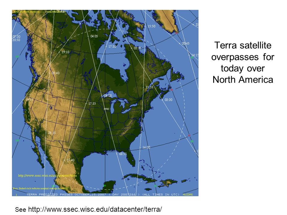 Terra satellite overpasses for today over North America