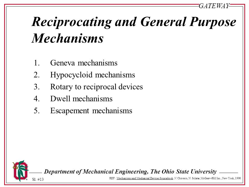 Reciprocating and General Purpose Mechanisms