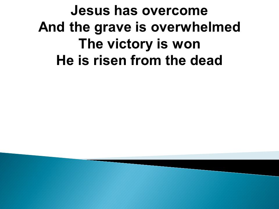 Jesus has overcome And the grave is overwhelmed The victory is won He is risen from the dead