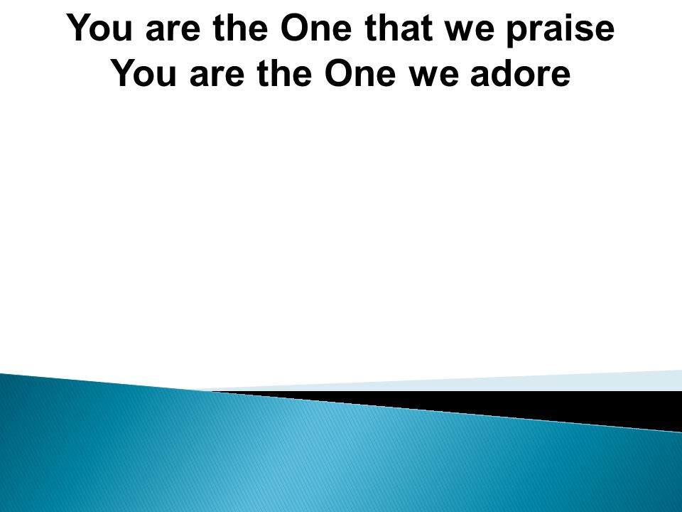 You are the One that we praise You are the One we adore