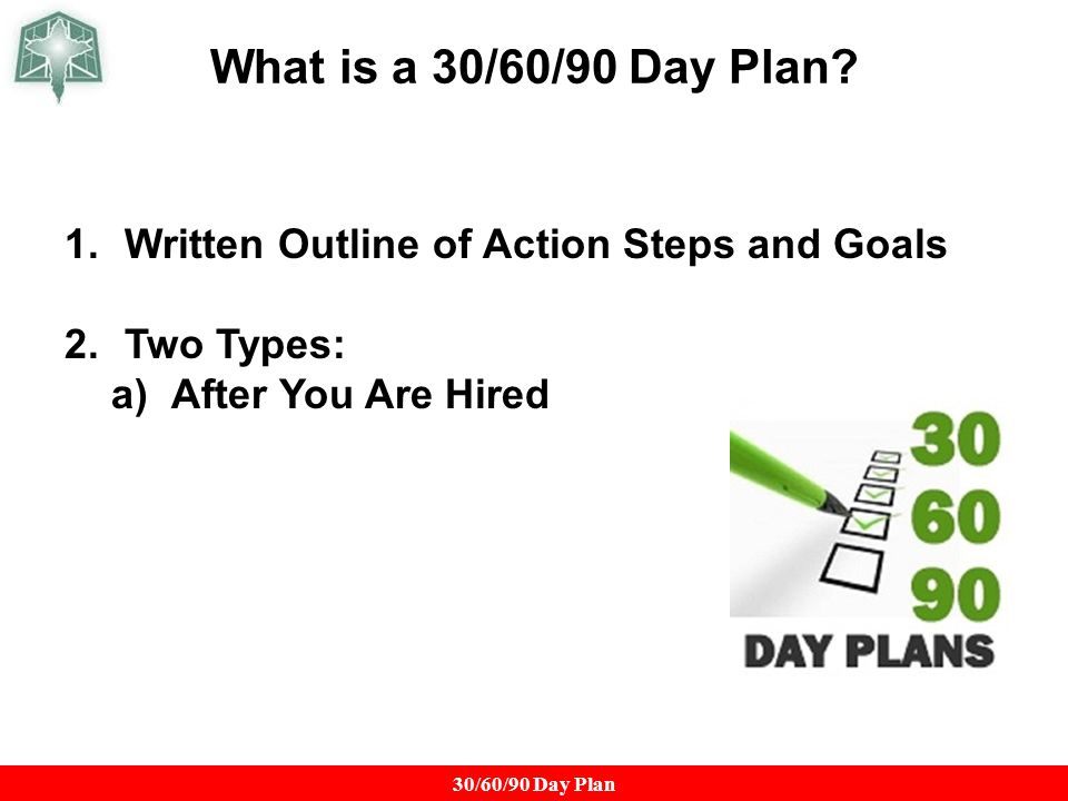 what is a 306090 day plan written outline of action steps and