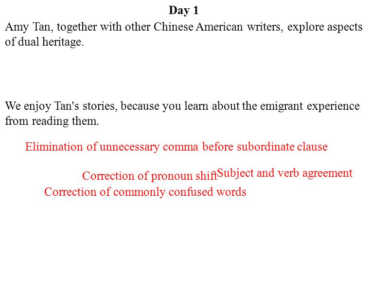 Day 1 Amy Tan, together with other Chinese American writers, explore aspects of dual heritage.