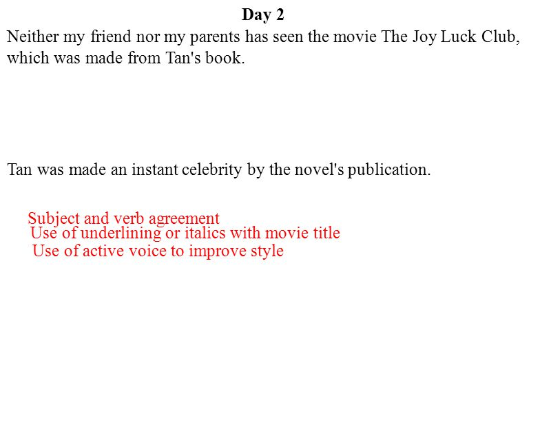 Day 2 Neither my friend nor my parents has seen the movie The Joy Luck Club, which was made from Tan s book.