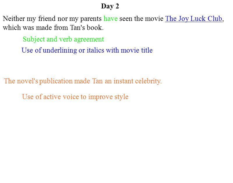 Day 2 Neither my friend nor my parents have seen the movie The Joy Luck Club, which was made from Tan s book.