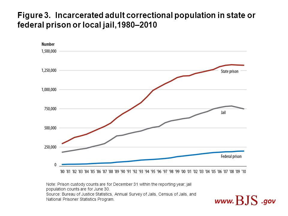 Figure 3. Incarcerated adult correctional population in state or federal prison or local jail,1980–2010