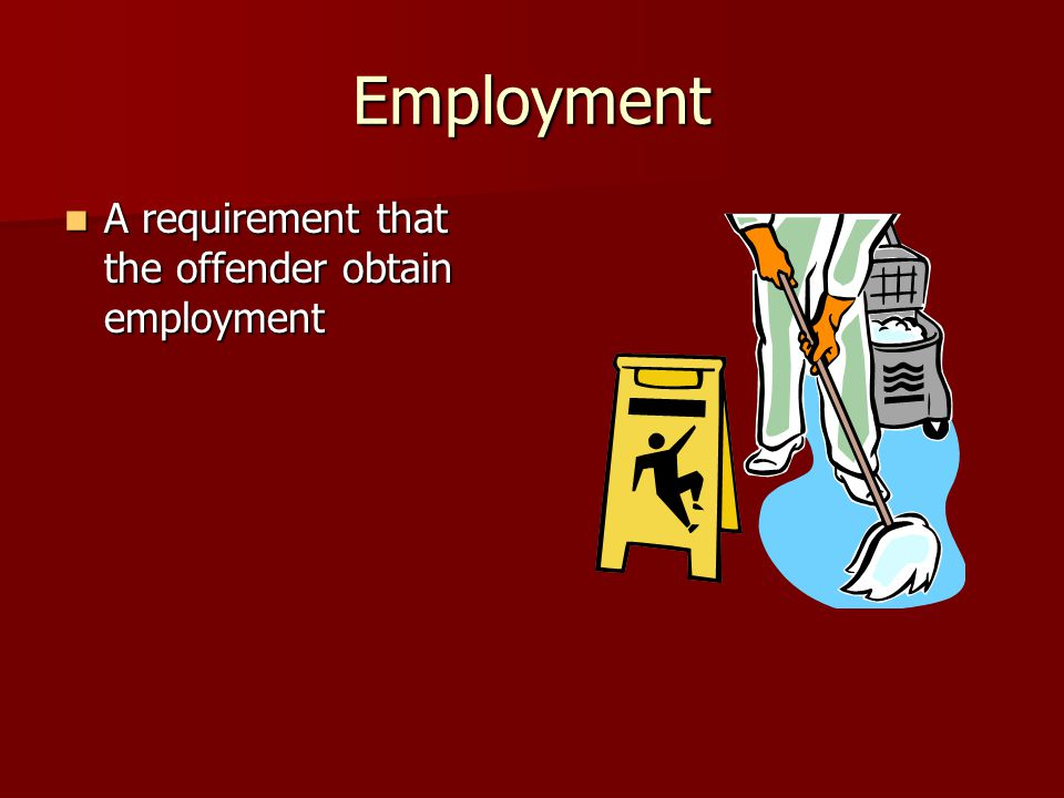 Employment A requirement that the offender obtain employment