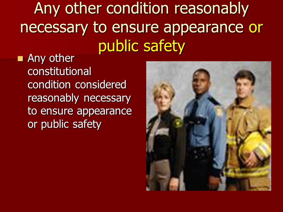 Any other condition reasonably necessary to ensure appearance or public safety