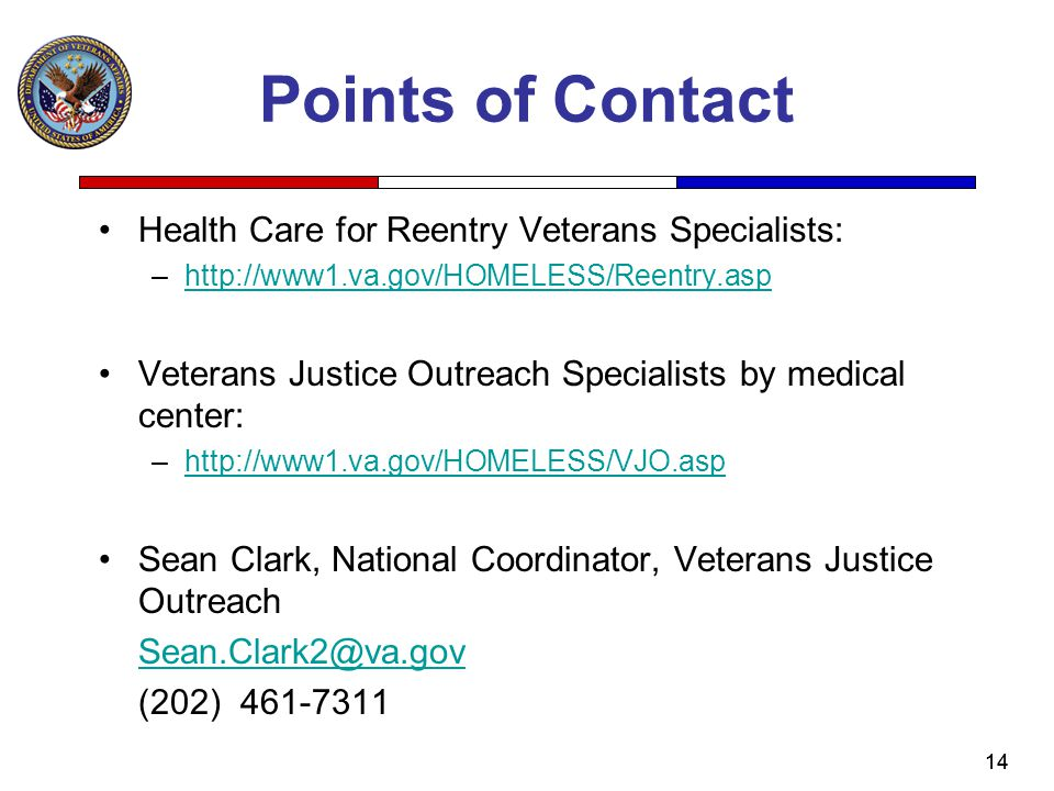 Points of Contact Health Care for Reentry Veterans Specialists: