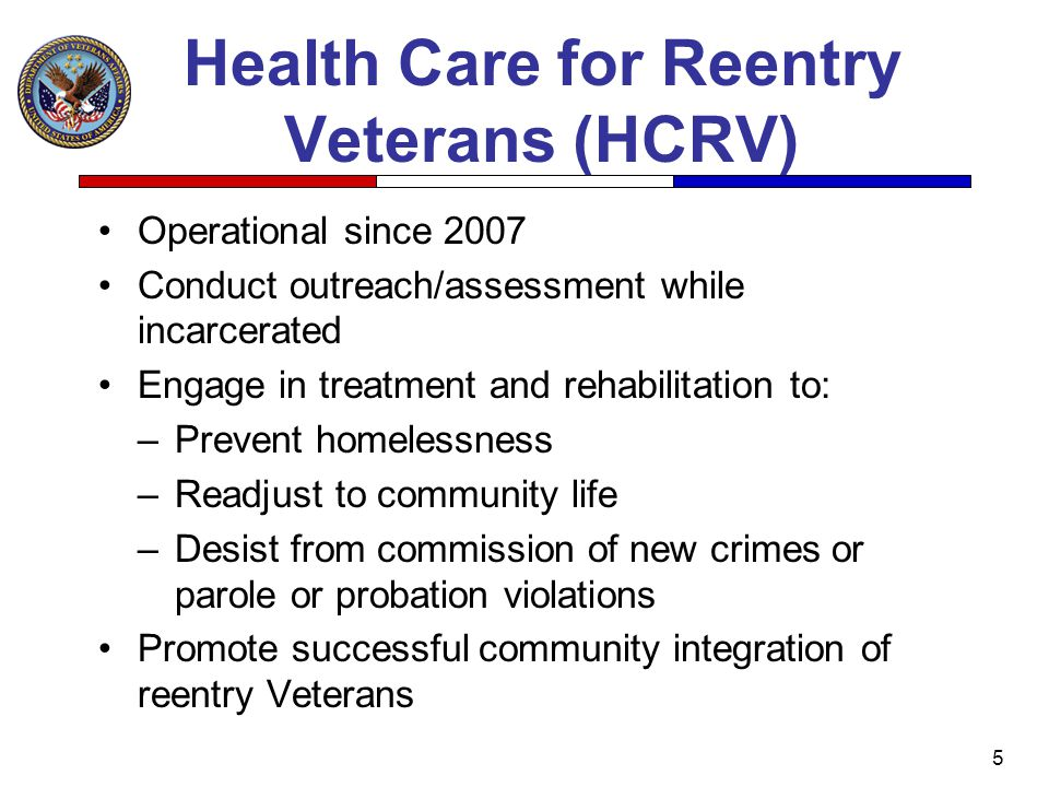 Health Care for Reentry Veterans (HCRV)