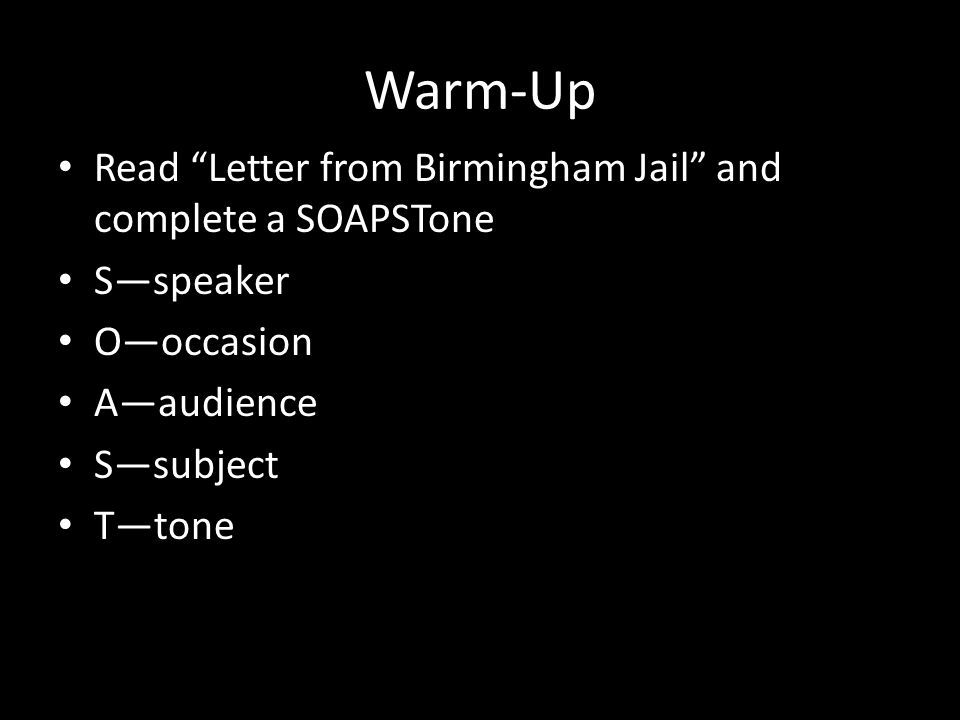 letter from birmingham jail soapstone letter from birmingham scavenger hunt ppt 22847 | Warm Up Read Letter from Birmingham Jail and complete a SOAPSTone