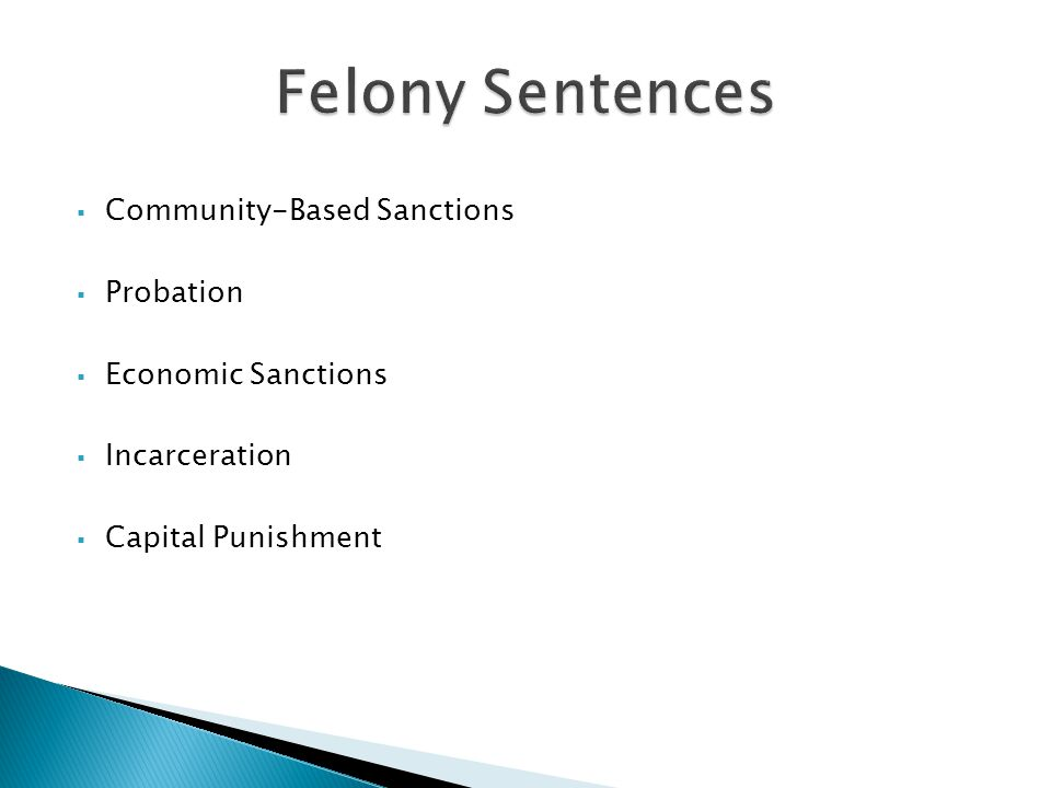 Felony Sentences Community-Based Sanctions Probation